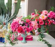 Hot pink floral birthday party in Cabo