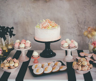 pink and gold dessert table
