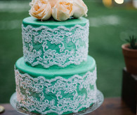Green and lace wedding cake
