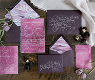 Purple watercolor invites