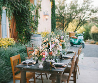 Tuscan vineyard wedding tablescape