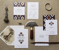 Bohemian wedding invitation suite