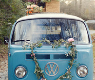 VW Bus with flowers