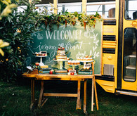 Rustic, vintage fall wedding dessert table