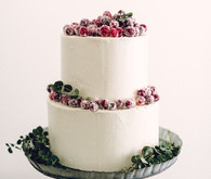 Cranberry topped wedding cake