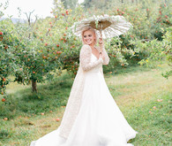 Apple orchard bridal portrait
