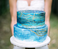 Two tier blue wedding cake