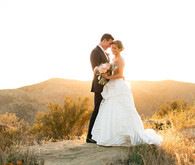 Romantic outdoor wedding portrait