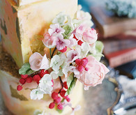 floral butter colored wedding cake