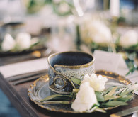 Winter blue wedding place setting