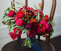 Red anemone bridal bouquet