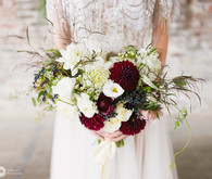 Red dahlia bridal bouquet