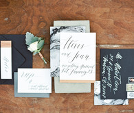 Modern marbled wedding invites