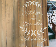 Rustic wood wedding signage