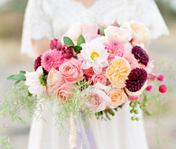 Colorful dahlia and rose bouquet