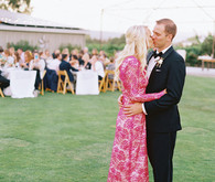 Fuchsia Monique Lhuillier reception dress