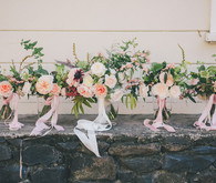 Soft peach bridal bouquets