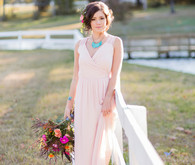 Blush bridal wedding gown