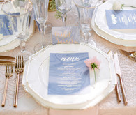 Pantone colored wedding menu