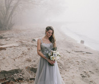 Seaside bridal portrait