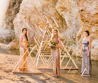 Metallic wooden triangle backdrop