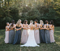 Blue and grey bridesmaid dresses