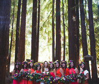 red bridesmaid gowns