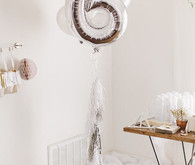 Silver mylar number balloon