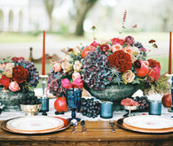 Jewel toned winter wedding tablescape
