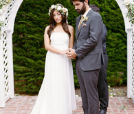 Garden wedding ceremony portrait