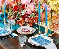 Fall jewel toned wedding tablescape