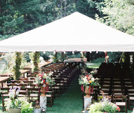Backyard bohemian wedding ceremony