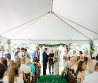 Bohemian backyard wedding ceremony