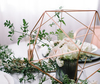 Copper + green industrial modern wedding place setting