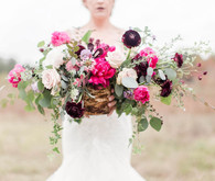 Pink + plum wedding florals
