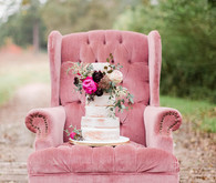 Vintage pink + plum wedding cake