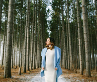 winter forest maternity photos