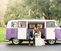 Volkswagen wedding portrait