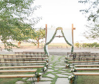 Backyard California desert wedding ceremony