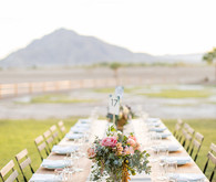 Backyard California desert wedding reception