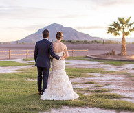 Backyard California desert wedding portrait