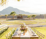 Backyard California desert wedding tablescape