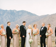 Desert wedding party portrait