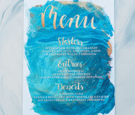 Blue watercolor wedding menu