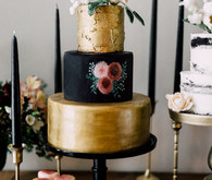 Gold and black wedding cake