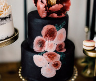 Black and floral wedding cake