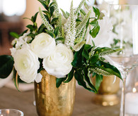 Gold and white wedding decor
