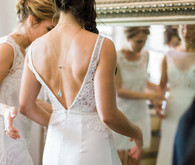Lace and silk wedding dress