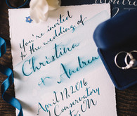 Blue calligraphy