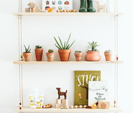 Natural hanging shelves
